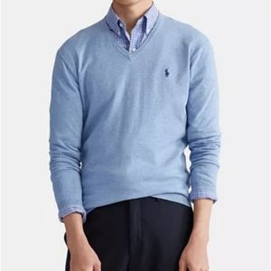Polo v neck baby blue pullover sweater